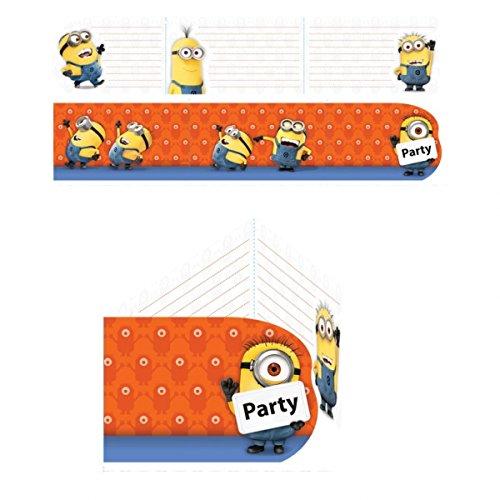 12 Teiliges Einladungs Set MINIONS Fr Party Und
