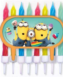 Minions-Tortendeko-Cupcake-Deko-mit-bunten-8-Kerzen-Ich-einfach-unverbesserlich-Geburtstag-Party-0