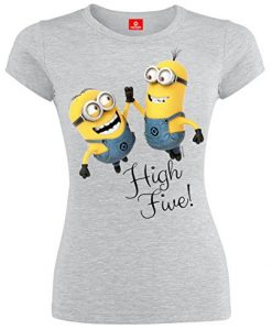 Minions-High-Five-Girl-Shirt-grau-meliert-0-1