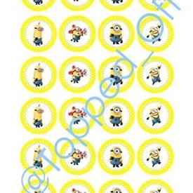 """24 x 1,5 """"(3,8 cm) runden Minions essbaren Kuchendeckel Dekorationen"""