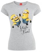 Minions High Five Girl-Shirt grau meliert