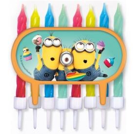 Minions – Tortendeko / Cupcake Deko mit bunten 8 Kerzen – Ich einfach unverbesserlich – Geburtstag & Party