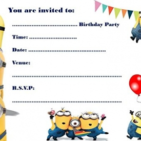 Party-Einladungen, A5-Format, Motiv: Minions, 10 Stück, glänzend