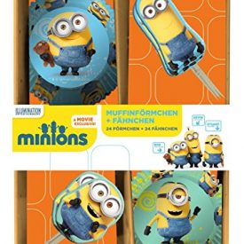 pos-24418-24-Muffinfrmchen-mit-24-Fhnchen-Minions-im-Geschenkkarton-0